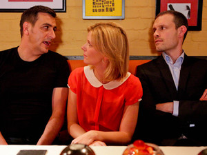 When Peter learns about Leanne and Simon moving in with Nick, he storms over to the Bistro where, finding them there altogether he proceeds to lay into them