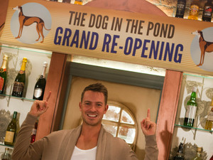 Ashley Taylor Dawson behind the bar for the grand re-opening