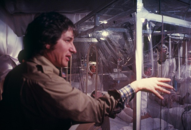 Steven Spielberg surveys the medical facility set