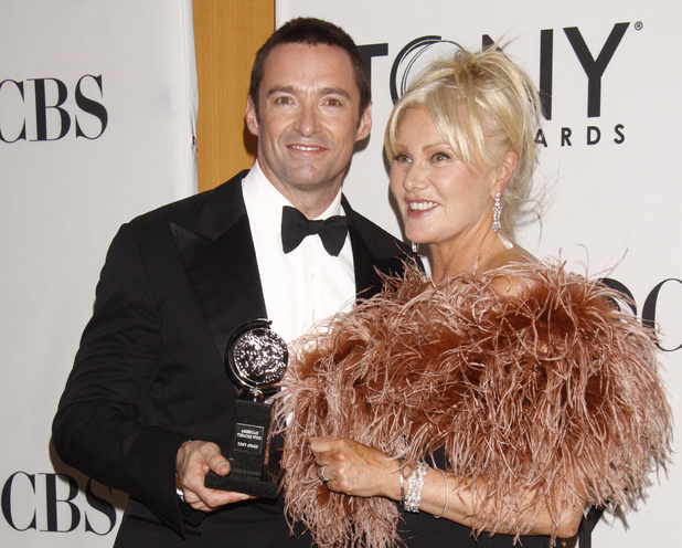 Hugh Jackman and Deborra-Lee Furness in the press room at the 66th Annual Tony Awards in New York