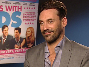 Jon Hamm talks to Digital Spy about working with his partner Jennifer Westfeldt (who wrote and directed) on the movie 'Friends With Kids'.
