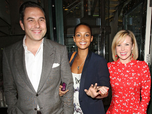 David Walliams, Alesha Dixon and Amanda Holden leaving the Ivy club in high spirits. London, England