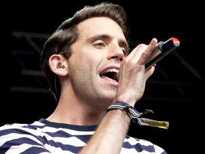 Mika performs on stage during day 3 of the Lovebox Festival at Victoria Park in London