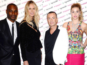 Tyson Beckford, Elle MacPherson, Julien MacDonald and Whitney Port at the launch of Britain and Ireland's Next Top Model at Claridges Hotel in London