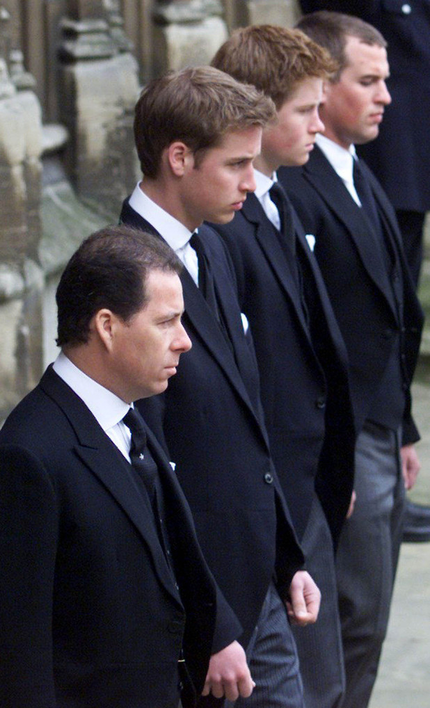 Viscount Linley, Prince William, Prince Harry and Peter Phillips
