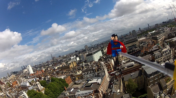 LEGO Superman flies above London