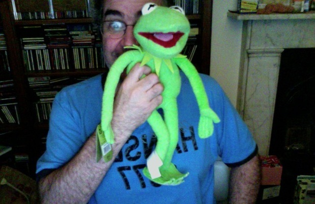 Danny Baker with Kermit the frog