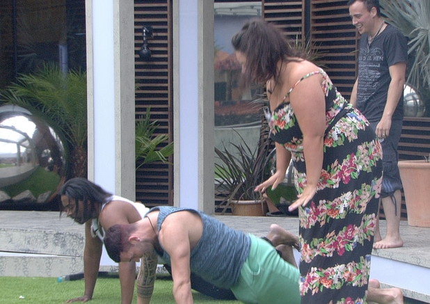 Big Brother Day 19: Housemates training in the garden.