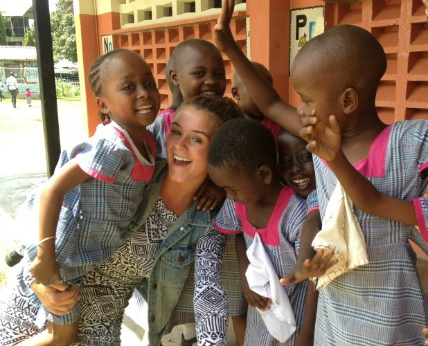 Coronation Street's Brooke Vincent with children of Kenya