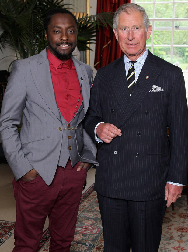 Singer Will.i.am stands with the Prince of Wales at Clarence House, London, during a meeting to discuss a donation from the i.am.angel Foundation to support the work of The Prince's Trust with disadvantaged young people.