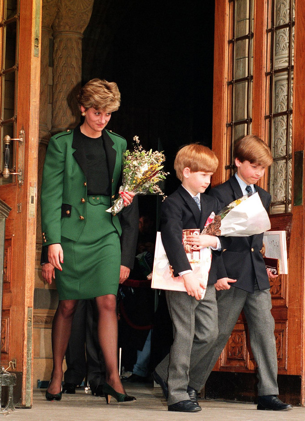 Princess of Wales and Prince Harry and William
