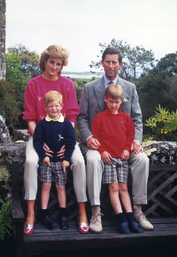 Princess Diana and Prince Charles with sons Prince William and Harry