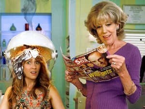 Samia Ghadie and Sue Nicholls in Inside Soap photoshoot