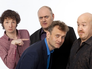 Mock the Week panel as of June 2012 featuring Chris Addison, Dara O&#39;Briain, Hugh Dennis and Andy Parsons