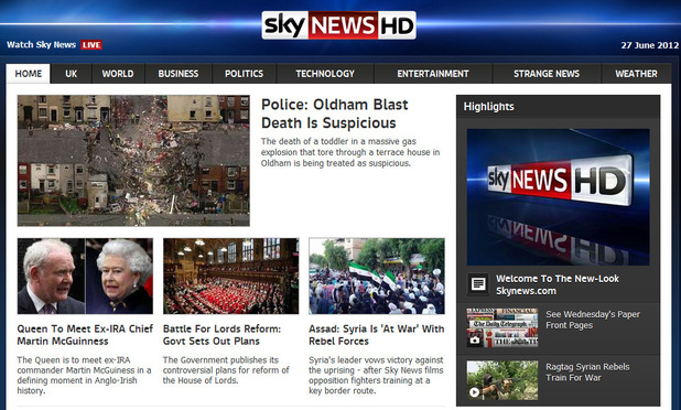 Sky News website screenshot