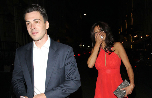Melanie Sykes and toyboy Jack Cockings leave Nobu restaurant London, England