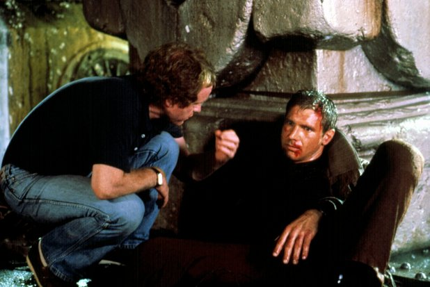 Director Ridley Scott, Harrison Ford on the set of 'Blade Runner'