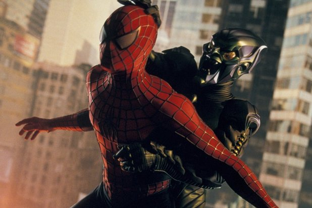 Spider-Man grapples with the Green Goblin