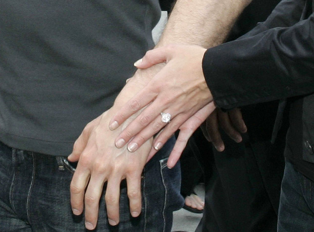 Katie Holmes sports an engagement ring in Paris in June 2005, just months after getting together