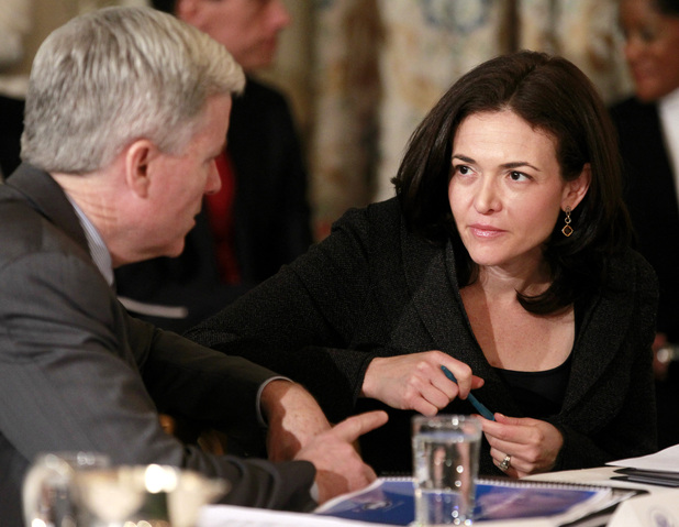 Sheryl Sandberg (Facebook COO at time of picture) talks with Mark T. Gallogly, founder and managing partner of Centerbridge Partners, before President Barack Obama hosted a meeting with the Council on Jobs and Competitiveness, Tuesday, Jan. 17, 2012