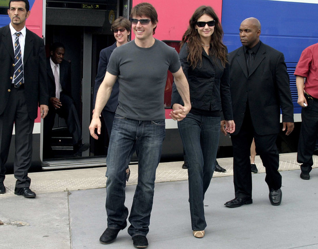 On June 17, 2005, Tom Cruise and Katie Holmes announce their engagement in Paris, where Tom proposed on the Eiffel Tower