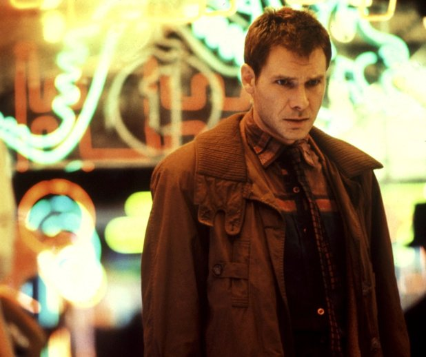 Deckard on the neon-lit city streets