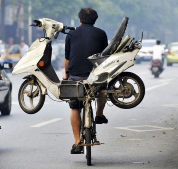 Drunk man takes scooter on a bike to get around drink-drive laws