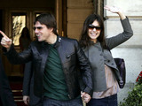 Tom Cruise and Katie Holmes leave the Ritz Hotel in Paris the day after their engagement announcement