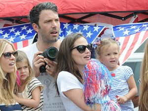 Ben Affleck and Jennifer Garner and their daughters Violet and Seraphina celebrate the Fourth of July, American Independence day watching the parade on Pacific Palisades Los Angeles, California