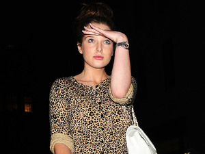 Helen Flanagan out and about in a leopard patterned top London, England
