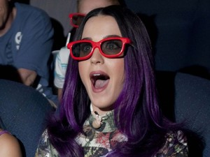 Katy Perry watches Katy Perry: Part Of Me with bespoke 3D glasses