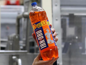 A bottle of Irn Bru in production
