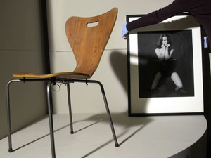 The curved back chair on which Christine Keeler posed for photographer Lewis Morley in 1963 