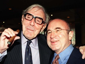 Veteran comedian Eric Sykes OBE with actor Bob Hoskins during a special lunch thrown in his honour at The Dorchester Hotel in London, 1997 by The Variety Club of Great Britain to mark his 50 years in showbusiness and his long-term support for the children's charity.