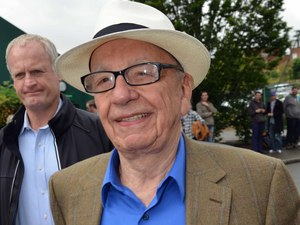 Rupert Murdoch arriving for the final between Roger Federer and Andy Murray.