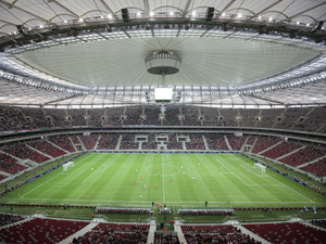 A general view of the National Stadium with the roof closed during the friendly soccer match between Sevilla FC and Legia Warszawa in Warsaw