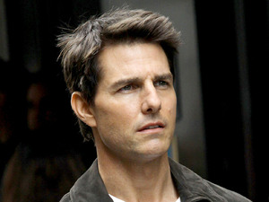 Tom Cruise filming on the set of 'Oblivion' at the foot of the Empire State Building New York