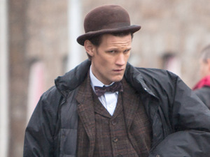 Matt Smith BBC One series sci fi series 'Doctor Who' shoots in Butetown Rhymney, Wales