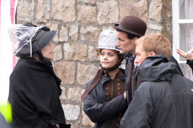 Dame Diana Rigg,Matt Smith, Jenna-Louise Coleman BBC One series sci fi series 'Doctor Who' shoots in Butetown Rhymney, Wales