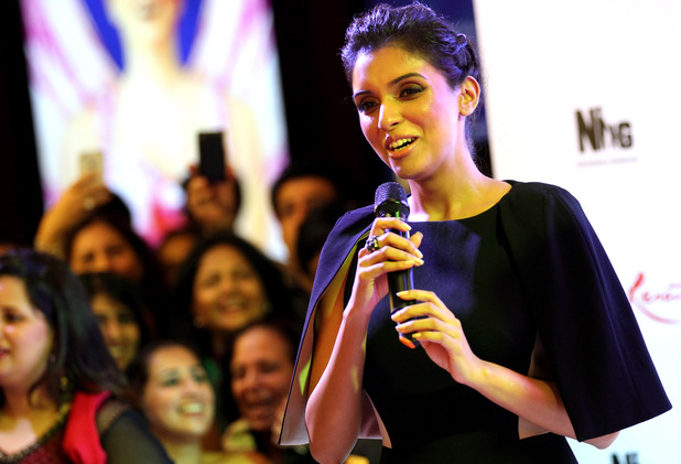 Asin Thottumkal at the Housefull 2 world premiere in Singapore, Tuesday, April 3, 2012