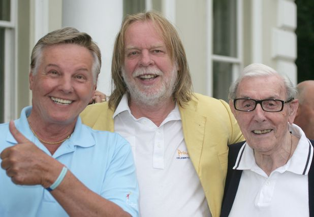 Jess Conrad, Rick Wakeman and Eric Sykes at The Rick Wakeman Celebrity Classic at Burhill Golf Club, Walton on Thames, Surrey, 2011