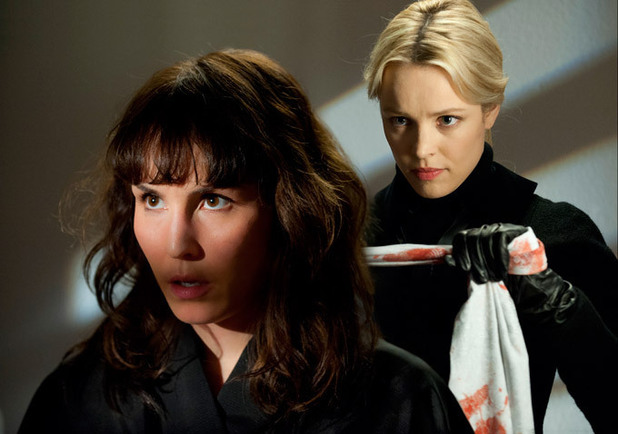 Rachel McAdams preparing to strangle Noomi Rapace in 'Passion' promo image