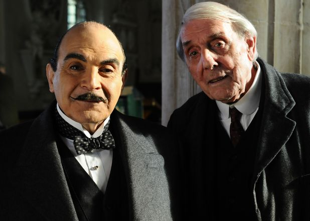 David Suchet as Hercule Poirot and Eric Sykes as Fullerton in 'Agatha Christie: Poirot, Halloween Party' in 2010
