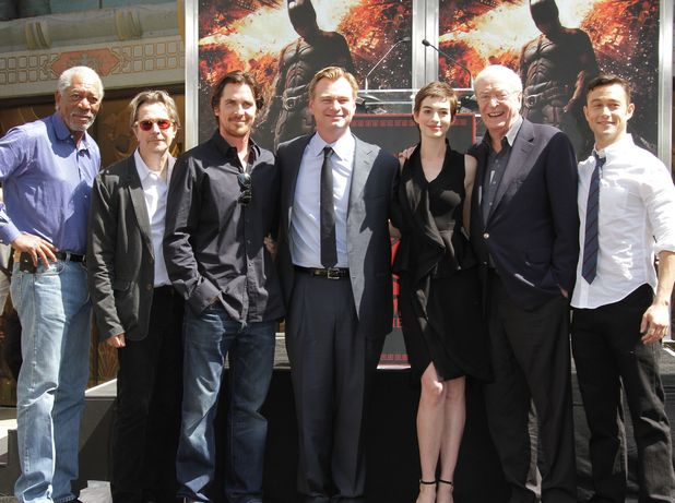 Morgan Freeman, Gary Oldman, Christian Bale, Christopher Nolan, Anne Hathaway, Sir Michael Caine and Joseph Gordon-Levitt.