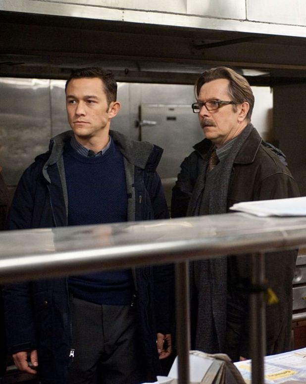 Dark Knight Rises Joseph Gordon-Levitt and Gary Oldman