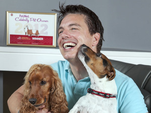 John Barrowman and his dogs Charlie, Captain Jack and Harris