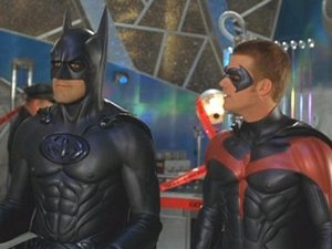 Batman (George Clooney) with sidekick Robin (Chris O&#39;Donnell) in Batman & Robin