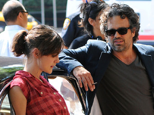 Keira Knightley and Mark Ruffalo filming on the set of 'Can A Song Save Your Life?' on Manhattan