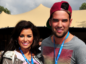 Jessica Wright, Ricky Rayment attend the Barclaycard Unwind Lounge at the O2 Wireless festival