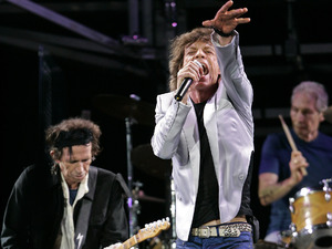"Keith Richards, Mick Jagger and Charlie Watts perform at Fenway Park in Boston Sunday, Aug. 21, 2005, where the group opened their ""A Bigger Bang"" world tour"